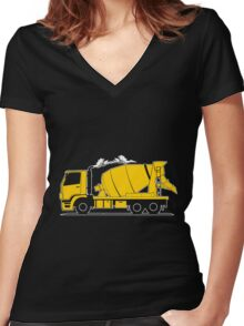 Construction Cement Truck Mixer Kids Boys Girls Child Children Women's Fitted V-Neck T-Shirt
