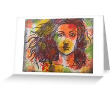 Girl in Leaves Greeting Card