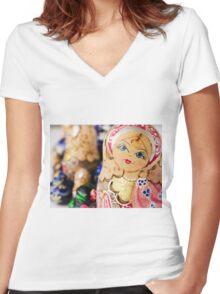 Babushka nesting dolls Women's Fitted V-Neck T-Shirt