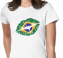 Brazil kiss lips Womens Fitted T-Shirt