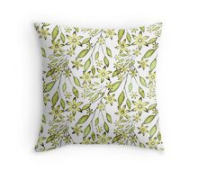 delicate floral pattern.Yellow flowers and sprigs on a white background Throw Pillow