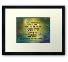 Serenity Prayer Gold on Blue-Green Framed Print