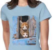 Cute Cat Kittens in a Blue Vintage Window Womens Fitted T-Shirt