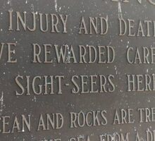 warning: injury and death have rewarded careless sight seers here // @ peggy's cove  Sticker