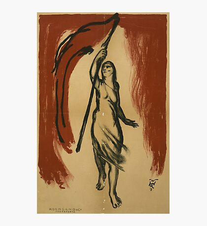 Woman Carrying Red Flag Photographic Print