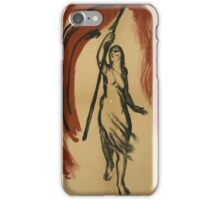 Woman Carrying Red Flag iPhone Case/Skin