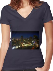Bangkok by Night - Central Silom District, Thailand Women's Fitted V-Neck T-Shirt