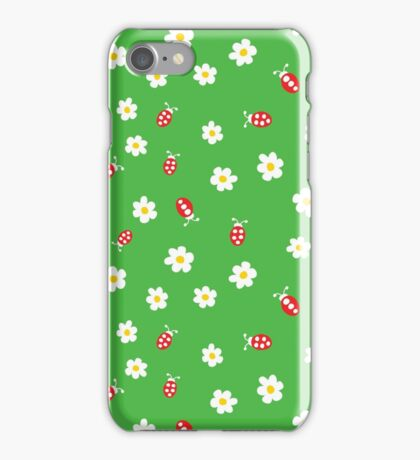 Ladybugs and Flowers on Grass iPhone Case/Skin