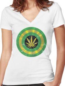 Captain Jamaica Shield Women's Fitted V-Neck T-Shirt