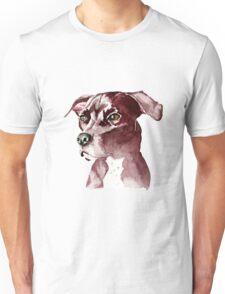 Monochromatic Pit Bull Dog Watercolor Painting Unisex T-Shirt