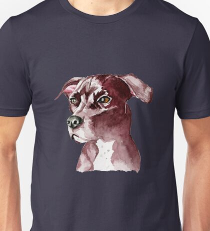 Monochromatic Pit Bull Dog Watercolor Painting Unisex T-Shirt