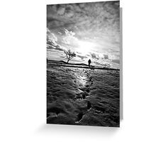 Footprints and silhoutted Greeting Card
