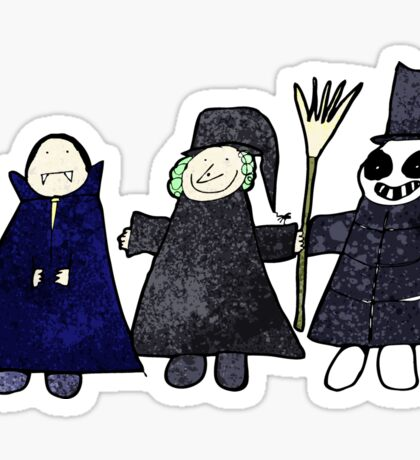child's drawing of a halloween group Sticker