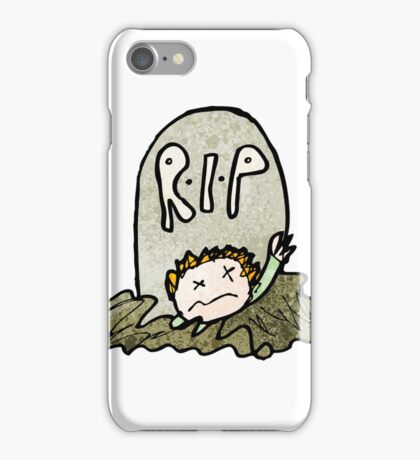 child's drawing of a zombie rising from grave iPhone Case/Skin
