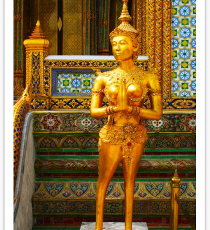Golden kinnara statue in Grand palace Bangkok,Thailand Sticker