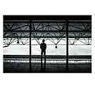 Airplane Hanger Silhouette by 45thAveArtCo