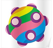 Colorful sticky rolling ball Poster