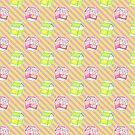 Lemon Peach Milk Stripes Pattern by SaradaBoru