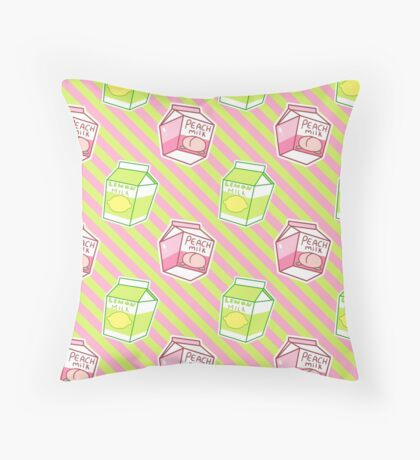 Lemon Peach Milk Stripes Pattern Throw Pillow
