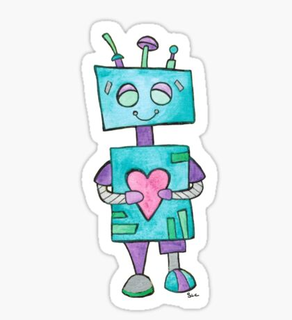Blue Robot with Heart Sticker