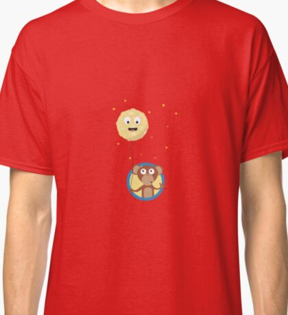 Monkey with friendly moon on a rope Classic T-Shirt
