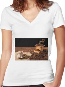 Coffee cup with whipped cream and coffee grinder Women's Fitted V-Neck T-Shirt