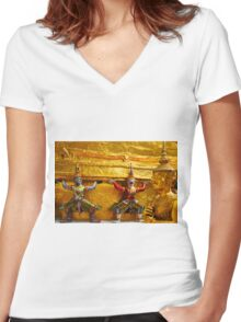 Gardians of the Grand Palace in Bangkok Thailand Women's Fitted V-Neck T-Shirt