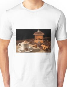 Coffee cup with whipped cream, cocoa powder and star anise Unisex T-Shirt