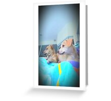 Puppies watching the lawn being cut♡ Greeting Card
