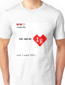Valentines Day design. Old games theme with hearts and quote. Nice gift for gamer love ;) Unisex T-Shirt