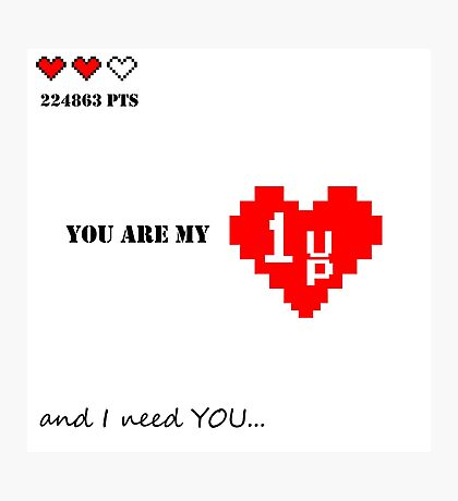 Valentines Day design. Old games theme with hearts and quote. Nice gift for gamer love ;) Photographic Print