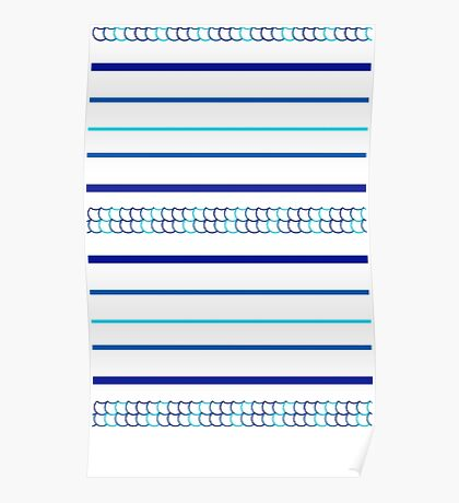 Blue Scale Pattern Poster