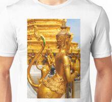 Golden kinnara statues in the Grand palace Bangkok,Thailand Unisex T-Shirt