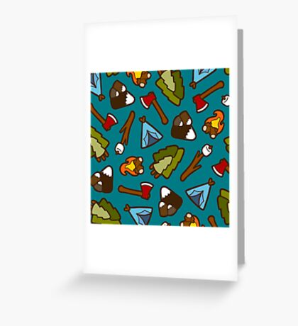 Camping is Cool Pattern Greeting Card