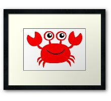 Funny red crab cartoon Framed Print