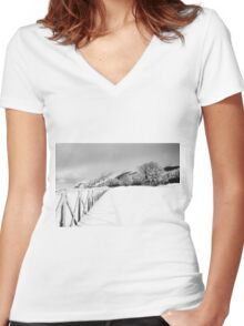 Mount Catria under the snow 14 Women's Fitted V-Neck T-Shirt
