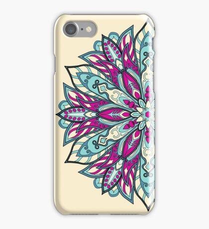 Pink cyan Complicated Mandala. Tribal style. iPhone Case/Skin