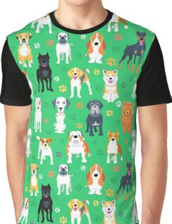 Dogs on the green background Graphic T-Shirt
