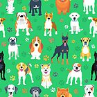 Dogs on the green background by kavalenkava
