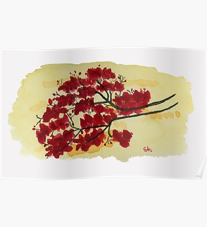 It's All About The Red  Watercolor Painting Art Print Fine Art Print from Watercolor Painting Watercolor Wall art Poster