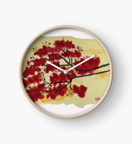 It's All About The Red  Watercolor Painting Art Print Fine Art Print from Watercolor Painting Watercolor Wall art Clock