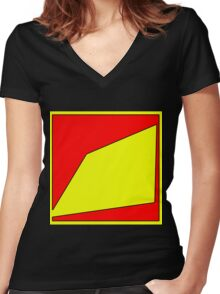 .Pattern B-1. .Centered And Fitted. Women's Fitted V-Neck T-Shirt