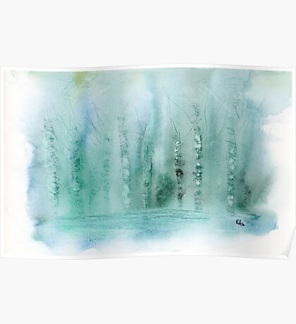 Green Foggy Forest Abstract. Original Watercolor Painting Art Print from Watercolor Painting Fine Art Print Watercolor Wall Art Poster