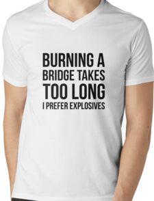 Burning Bridges Mens V-Neck T-Shirt