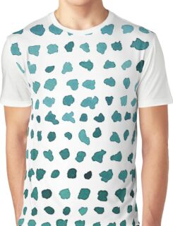 Chic Green and White Watercolor Dots Graphic T-Shirt