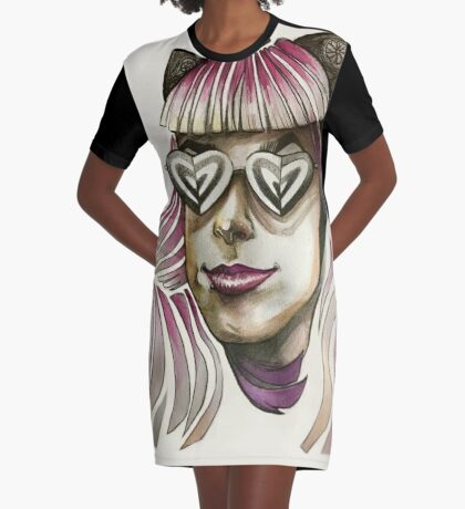 Pink Hair, Don't Care. Graphic T-Shirt Dress