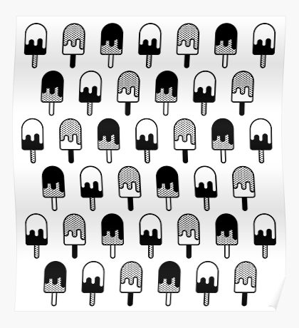 Ice Cream Black and White Pattern Poster