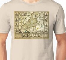 Rare old map of the Netherlands in the shape of a lion from 1600 Unisex T-Shirt