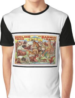 Retro Circus Poster with Animals Graphic T-Shirt