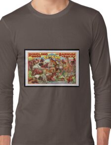 Retro Circus Poster with Animals Long Sleeve T-Shirt